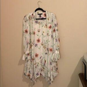 BCBGMaxAzria Botanical Floral Handkerchief Dress